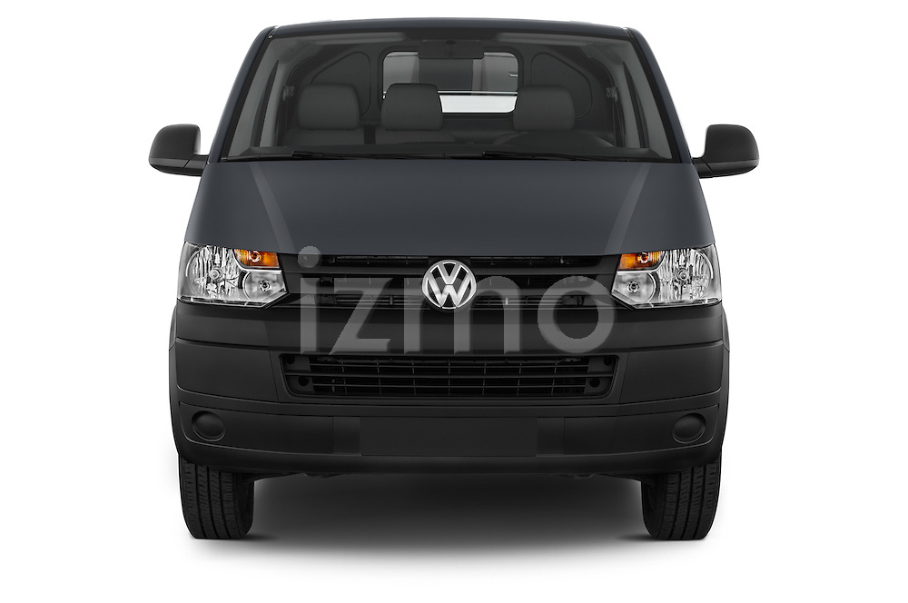Car photography straight front view of a 2015 Volkswagen Transporter 2.0 Tdi Bvm6 4 Door Cargo Van Front View