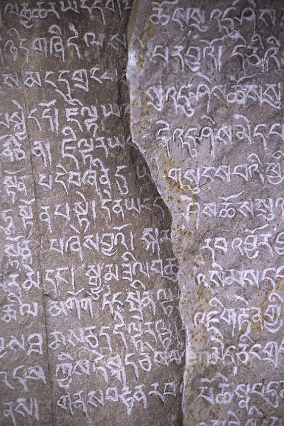 Mani stones in Samagaon village in Nepal.