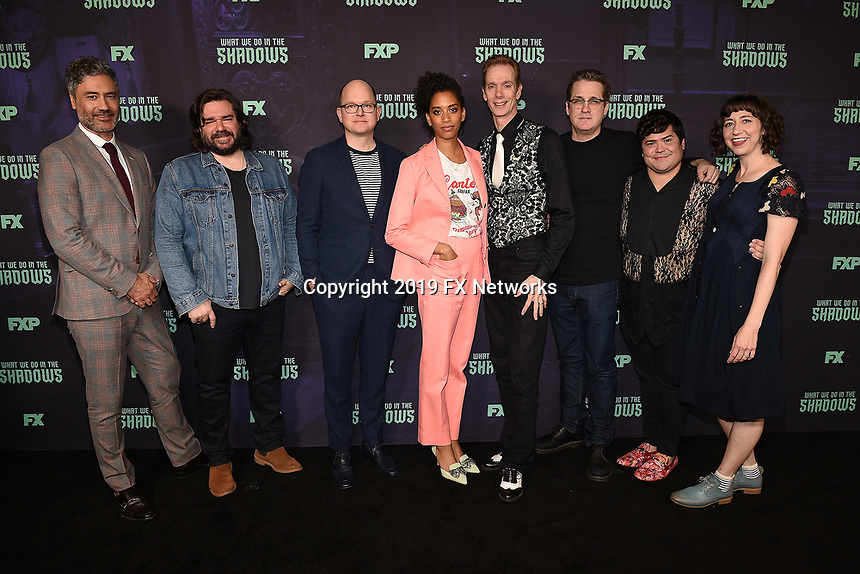 """HOLLYWOOD - MAY 22: (L-R) Executive Producer / Director Taika Waititi, cast members Matt Berry, and Mark Proksch, Co-Executive Producer / Write Stefani Robinson, Doug Jones, Executive Producer/Writer Paul Simms, cast member Harvey Guillen, and moderator Kristen Schaal attend FX's """"What We Do in the Shadows"""" FYC event at Avalon Hollywood on May 22, 2019 in Hollywood, California. (Photo by Frank Micelotta/FX/PictureGroup)"""