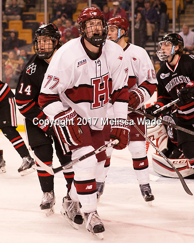 Garret Cockerill (NU - 14), Lewis Zerter-Gossage (Harvard - 77), Ryan Donato (Harvard - 16) - The Harvard University Crimson defeated the Northeastern University Huskies 4-3 in the opening game of the 2017 Beanpot on Monday, February 6, 2017, at TD Garden in Boston, Massachusetts.