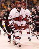 Garret Cockerill (NU - 14), Lewis Zerter-Gossage (Harvard - 77), Ryan Donato (Harvard - 16) - The Harvard University Crimson defeated the Northeastern University Huskies 4-3 in the opening game of the 2017 Beanpot on Monday, February 6, 2017, at TD Garden in Boston, Massachusetts.