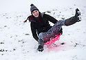 21/01/18<br /> <br /> Chloé Kirkpatrick (25) sledging after heavy snowfall near Dovedale in the Derbyshire Peak District..<br /> <br /> All Rights Reserved: F Stop Press Ltd. +44(0)1773 550665  www.fstoppress.com.