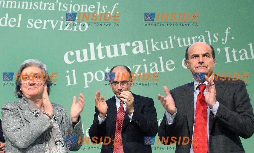 Pier Luigi Bersani, Rosy Bindi e Enrico Letta..PD- Assemblea Nazionale del Partito Democratico. Secondo Giorno...Roma, 5 Febraio 2011..Serena Cremaschi Insidefoto..........