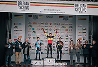 Thibau Nys (BEL/U17) winning his 2nd national champions title<br /> <br /> Belgian National CX Championships / Koksijde 2018