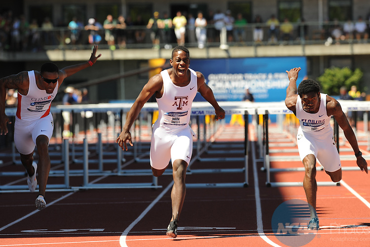 08 JUNE 2013:   Wayne Davis II of Texas A&M University competes in the 110 meter hurdles during the Division I Men's and Women's Outdoor Track & Field Championship held at Hayward Field on the University of Oregon campus in Eugene, OR.  Davis II won the event with a 13.14 time.  Chris Steppig/NCAA Photos