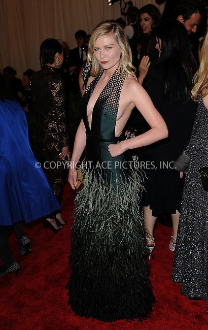 WWW.ACEPIXS.COM....May 6 2013, New York City....Kirsten Dunst attends the Costume Institute Gala for the 'PUNK: Chaos to Couture' exhibition at the Metropolitan Museum of Art on May 6, 2013 in New York City.....By Line: Kristin Callahan/ACE Pictures......ACE Pictures, Inc...tel: 646 769 0430..Email: info@acepixs.com..www.acepixs.com