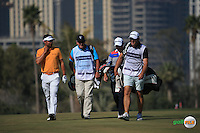 Lee Slattery (ENG) and Steve Webster (ENG) in deep chat during the Final Round of the 2016 Omega Dubai Desert Classic, played on the Emirates Golf Club, Dubai, United Arab Emirates.  07/02/2016. Picture: Golffile | David Lloyd<br /> <br /> All photos usage must carry mandatory copyright credit (&copy; Golffile | David Lloyd)