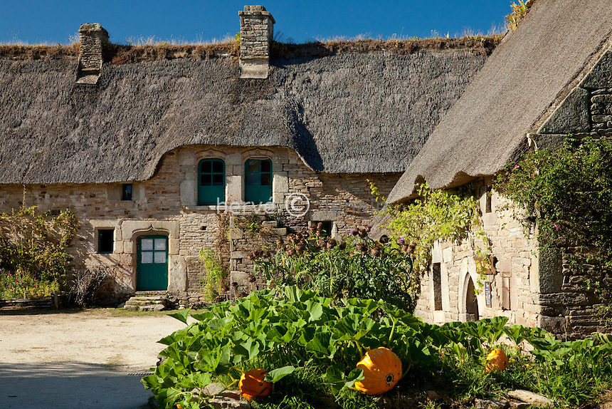 France, Morbihan (56), vallée du Blavet, Quistinic, Poul-Fetan, hameau restauré qui présente la vie d'un village breton d'autrefois, le jardin potager // France, Morbihan, Blavet Valley, Quistinic, Poul-Fetan, restored hamlet which presents the life of a Breton village of formerly, the vegetable garden