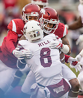 Hawgs Illustrated/BEN GOFF <br /> Santos Ramirez (left), Arkansas strong safety, and Henre' Toliver, Arkansas cornerback, tackle Kylin Hill, Mississippi State running back, in the second quarter Saturday, Nov. 18, 2017, at Reynolds Razorback Stadium in Fayetteville.