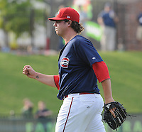 Starting pitcher Kyle Stroup (40) of the Greenville Drive pumps his fist after the final out of a 7-inning, complete-game 3-2 win in the first game of a doubleheader against the Rome Braves on August 15, 2011, at Fluor Field at the West End in Greenville, South Carolina. (Tom Priddy/Four Seam Images)