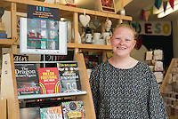 STORY BY STEVEN MORRIS SWANSEA, UK. 5th July 2015. Beth Owen, manager of Welsh language shop Siop Tŷ Tawe.
