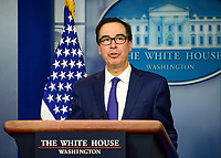 "United States Secretary of the Treasury Steven T. Mnuchin briefs reporters on US President Trump's Executive Order titled ""Modernizing and Expanding Sanctions to Combat Terrorism"" in the Brady Briefing Room of the White House in Washington, DC on Tuesday, September 10, 2019.<br /> CAP/MPI/RS<br /> ©RS/MPI/Capital Pictures"
