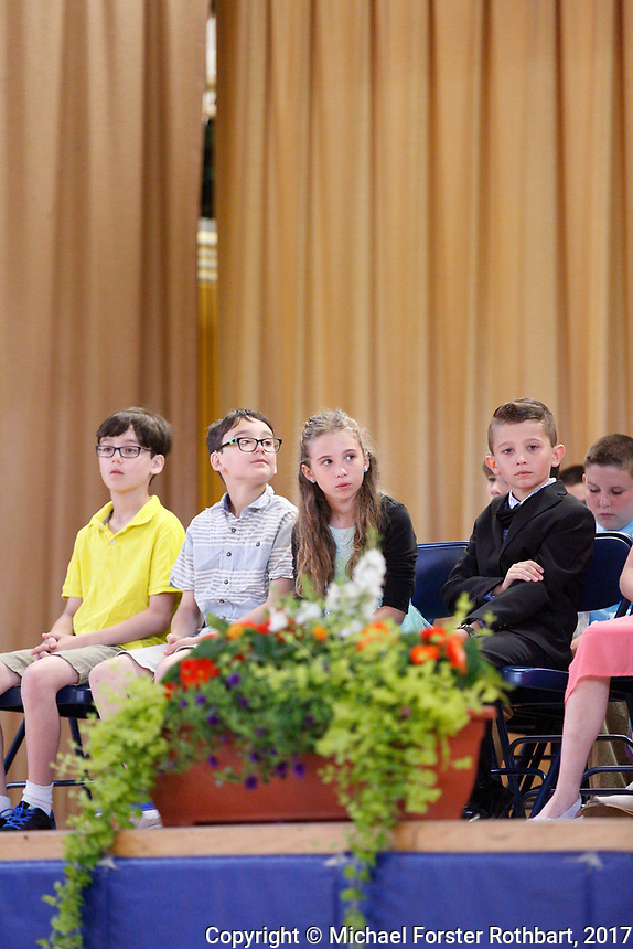 The Oneonta Greater Plains elementary school fifth grade awards ceremony, on June 21, 2017.<br /> &copy; Michael Forster Rothbart Photography<br /> www.mfrphoto.org &bull; 607-267-4893<br /> 34 Spruce St, Oneonta, NY 13820<br /> 86 Three Mile Pond Rd, Vassalboro, ME 04989<br /> info@mfrphoto.org<br /> Photo by: Michael Forster Rothbart<br /> Date:  6/21/2017<br /> File#:  Canon &mdash; Canon EOS 5D Mark III digital camera frame C19208