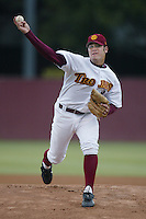 Anthony Reyes of the Southern California Trojans pitches during a 2002 season NCAA game at Dedeaux Field in Los Angeles, California. (Larry Goren/Four Seam Images)