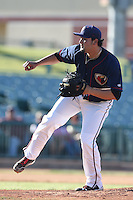 Gonzalo Sanudo #37 of the Lancaster JetHawks pitches against the Inland Empire 66ers at The Hanger on May 26, 2014 in Lancaster, California. Lancaster defeated Inland Empire, 6-5. (Larry Goren/Four Seam Images)