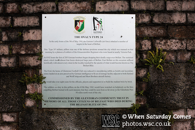 Glentoran 2 Cliftonville 1, 22/10/2016. The Oval, NIFL Premiership. An information plaque on the World War II bunker situated on the hill at the home end at The Oval, Belfast, pictured before Glentoran hosted city-rivals Cliftonville in an NIFL Premiership match. Glentoran, formed in 1892, have been based at The Oval since their formation and are historically one of Northern Ireland's 'big two' football clubs. They had an unprecendentally bad start to the 2016-17 league campaign, but came from behind to win this fixture 2-1, watched by a crowd of 1872. Photo by Colin McPherson.
