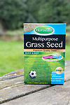 Close up packet of Horticare Multipurpose Grass Seed for lawns, UK