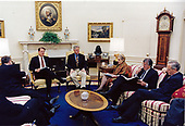 United States President Bill Clinton meets with (from left to right): Sandy Berger, Director of the National Security Council; US Vice President Al Gore, US Secretary of State Madeleine Albright; Special Middle East Coordinator Dennis Ross, and Assistant Secretary of State for Near Eastern Affairs Martin Indyk in the Oval Office of the White House in Washington, DC on May 11, 1998.<br /> Mandatory Credit:  Barbara Kinney / White House via CNP