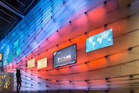 Media wall in the McKinnon Center for Global Affairs, Johnson Hall. Sept. 17, 2014. (Photo by Marc Campos, Occidental College Photographer)