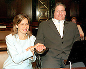 "Christopher Reeve, actor, quadriplegic, disability rights activist and star of the ""Superman"" movies who was paralyzed in a riding accident in 1995, passed away in New York on October 10, 2004 of cardiac arrest.  He testified before the United States Senate Labor, Health and Human Services and Education Subcommittee on increasing funding for medical research in Washington, D.C. on June 5, 1997.  His wife, Dana, looks on..Credit: Ron Sachs / CNP"