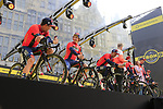 Bahrain-Merida on stage at the team presentation in Antwerp before the start of the 2019 Ronde Van Vlaanderen 270km from Antwerp to Oudenaarde, Belgium. 7th April 2019.<br /> Picture: Eoin Clarke | Cyclefile<br /> <br /> All photos usage must carry mandatory copyright credit (&copy; Cyclefile | Eoin Clarke)