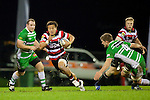 Tim Nanai Williams breaks past Michael Fitzgerald. ITM Cup rugby game between Counties Manukau and Manawatu played at Bayer Growers Stadium on Saturday August 21st 2010..Counties Manukau won 35 - 14 after leading 14 - 7 at halftime.