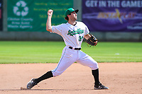 Clinton LumberKings shortstop Johnny Adams (26) makes a throw to first base during a Midwest League game against the Lansing Lugnuts on July 15, 2018 at Ashford University Field in Clinton, Iowa. Clinton defeated Lansing 6-2. (Brad Krause/Four Seam Images)