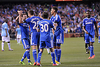 Chelsea players celebrate a goal..Manchester City defeated Chelsea 4-3 in an international friendly at Busch Stadium, St Louis, Missouri.