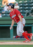 Infielder Travis Mattair (14) of the Lakewood BlueClaws, Class A affiliate of the Philadelphia Phillies, in a game against the Greenville Drive on July 12, 2011, at Fluor Field at the West End in Greenville, South Carolina. (Tom Priddy/Four Seam Images)