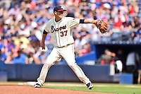 Atlanta Braves starting pitcher Matt Wisler (37) delivers a pitch during a game against the Chicago Cubs at Turner Field on June 11, 2016 in Atlanta, Georgia. The Cubs defeated the Braves 8-2. (Tony Farlow/Four Seam Images)