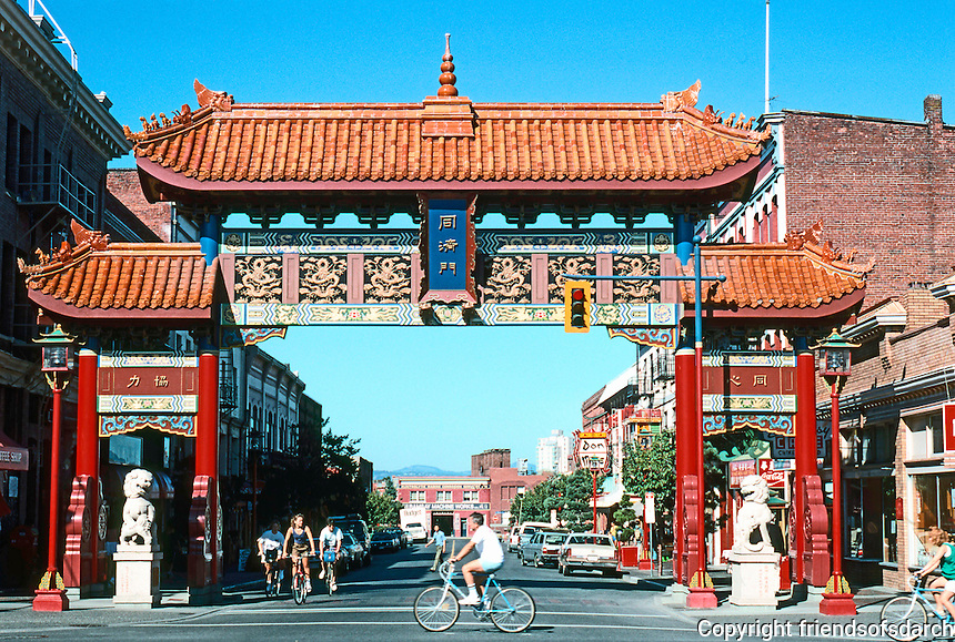 Victoria: Gate of Harmonious Interests, 1980. Spanning Fisgard at Government St.  Photo '88.