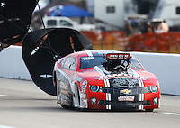 Apr 26, 2014; Baytown, TX, USA; NHRA pro mod driver Mike Janis during qualifying for the Spring Nationals at Royal Purple Raceway. Mandatory Credit: Mark J. Rebilas-