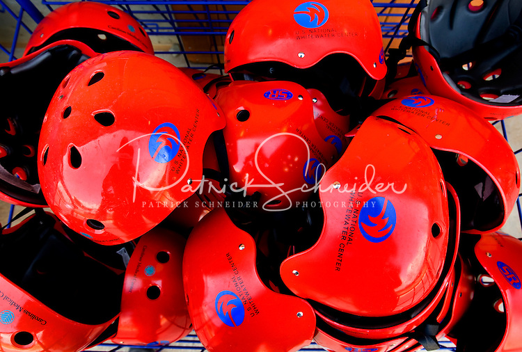 Helmets are ready for use at the US National Whitewater Center (USNWC) in Charlotte, NC.