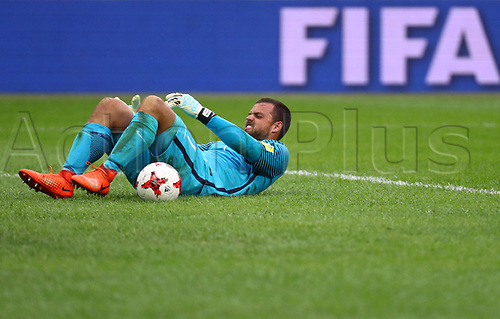 17th June 2017, St Petersburg, Russia;  FIFA 2017 Confederations Cup football, Russia versus New Zealand;  Group A - Saint Petersburg Stadium,  New Zealand's Stefan Marinovic looks dejected at the end of the game