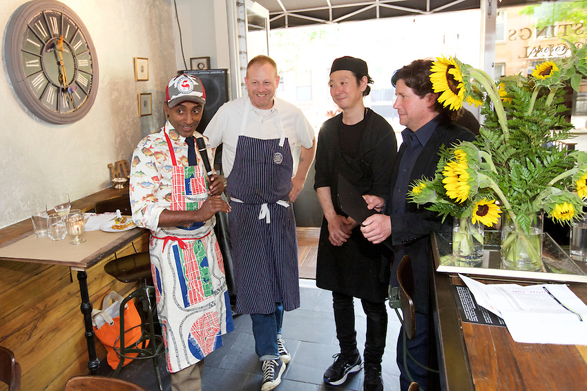 New York, NY - May 20, 2016: Chef and Harlem Eat Up! founder, Marcus Samuelsson introduces chefs Kenichi Tajima and Andy Ricker at a special dinner at Mountain Bird in East Harlem, one of the many Dine In Harlem meals served during Harlem Eat Up!<br /> <br /> <br /> CREDIT: Clay Williams for Food Republic.<br /> <br /> &copy; Clay Williams / claywilliamsphoto.com
