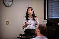 "Amy Lee presents, ""Koreagate: Unraveling US Scandals in the 1970s""<br /> Mentor: Jane Hong, History<br /> Occidental College's Undergraduate Research Center hosts their annual Summer Undergraduate Research Conference on July 31, 2019. Student researchers presented their work as either oral or poster presentations at this final conference. The program lasts 10 weeks and involves independent research in all departments.<br /> (Photo by Marc Campos, Occidental College Photographer)"