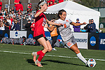 KANSAS CITY, MO - DECEMBER 02: Alex Brandan (6) of Carson-Newman University attempts a cross past Lara Hallgrimsdottir (22) of Carson-Newman University during the Division II Women's Soccer Championship held at the Swope Soccer Village on December 2, 2017 in Kansas City, Missouri. (Photo by Doug Stroud/NCAA Photos/NCAA Photos via Getty Images)