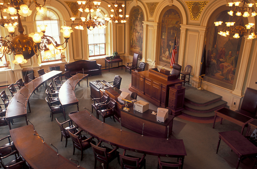 State House, Concord, State Capitol, NH, New Hampshire, The Senate Chamber inside The New Hampshire State House in the capital city of Concord.