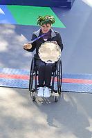 Nova York (EUA), 03/11/2019 - Maratona de Nova York - Manuela Schar, Suíça, depois de cruzar a linha de chegada para ganhar o Acabamento de atleta profissional de cadeira de rodas para mulheres durante a Maratona TCS New York City 2019 em Nova York em 3 de novembro de 2019. (Foto: William Volcov/Brazil Photo Press)