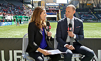 Portland, OR - Saturday April 15, 2017:  Julie Foudy and Dalen Cuff during a regular season National Women's Soccer League (NWSL) match between the Portland Thorns FC and the Orlando Pride at Providence Park.