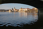View of Prague's Old Town (Stare Mesto), Charles Bridge (Karlov Most) and the Vltava River from Strelecky Island, under Legion Bridge, Prague, Czech Republic, Europe
