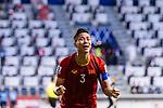 Que Ngoc Hai of Vietnam reacts after winning the AFC Asian Cup UAE 2019 Round of 16 match between Jordan (JOR) and Vietnam (VIE) at Al Maktoum Stadium on 20 January 2019 in Dubai, United Arab Emirates. Photo by Marcio Rodrigo Machado / Power Sport Images