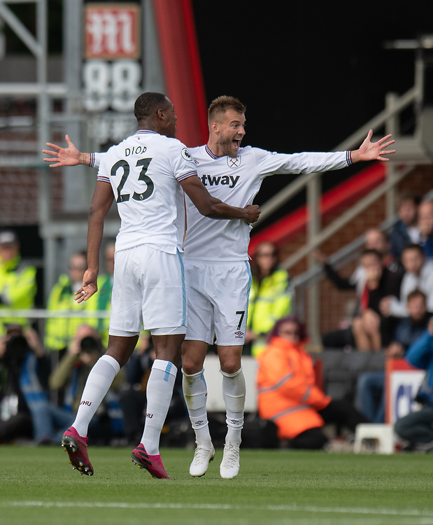 West Ham United's Andriy Yarmolenko (right) celebrates scoring his side's first goal with Issa Diop <br /> <br /> Photographer David Horton/CameraSport<br /> <br /> The Premier League - Bournemouth v West Ham United - Saturday 28th September 2019 - Vitality Stadium - Bournemouth<br /> <br /> World Copyright © 2019 CameraSport. All rights reserved. 43 Linden Ave. Countesthorpe. Leicester. England. LE8 5PG - Tel: +44 (0) 116 277 4147 - admin@camerasport.com - www.camerasport.com