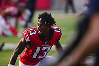 Ohio, Canton - August 1, 2019: Atlanta Falcons wide receiver Christian Blake #13 warms up before a game between the Atlanta Falcons and the Denver Broncos at the Tom Benson stadium in Canton, Ohio August 1, 2019. This game marks start of the 100th season of the NFL. (Photo by Don Baxter/Media Images International)