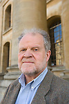 William Chislett, Madrid-based journalist, outside the Clarendon Building, during the FT Weekend Oxford Literary Festival, Oxford, UK. Saturday 29 March 2014.<br /> <br /> PHOTO COPYRIGHT Graham Harrison<br /> graham@grahamharrison.com<br /> <br /> Moral rights asserted.