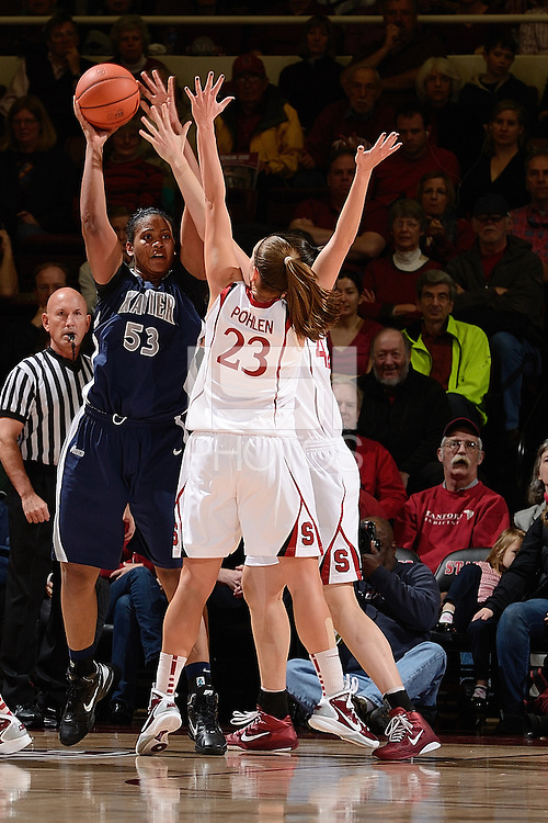STANFORD, CA - DECEMBER 28: Jeanette Pohlen (23) and Sarah Boothe (42; partially obscured) of Stanford women's basketball on defense in a game against Xavier on December 28, 2010 at Maples Pavilion in Stanford, California.  Stanford topped Xavier, 89-52.