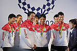 (L-R) Yoshihide Kiryu, Aska Cambridge,  Shinzo Abe, Shota Iizuka, Ryota Yamagata, Hirooki Arai,<br /> AUGUST 21, 2016 - : <br /> Japanese prime minister Shinzo Abe attended the exchange meeting with Japan National team member and <br /> their medalist<br /> at Japan House in Rio de Janeiro <br /> during the Rio 2016 Olympic Games in Rio de Janeiro, Brazil. <br /> (Photo by Yusuke Nakanishi/AFLO SPORT)