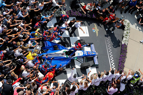 Verizon IndyCar Series<br /> Indianapolis 500 Race<br /> Indianapolis Motor Speedway, Indianapolis, IN USA<br /> Sunday 28 May 2017<br /> Takuma Sato, Andretti Autosport Honda celebrates in victory lane after winning<br /> World Copyright: Russell LaBounty<br /> LAT Images