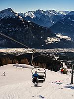 Blick voni Bergstation Alpjoch, Ski-Gebiet Hochimst bei Imst, Tirol, Österreich, Europa<br /> panorama, hillstation Alpjoch, skiing area Hochimst, Imst, Tyrol, Austria, Europe