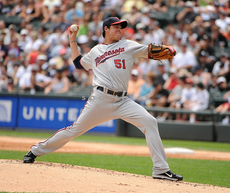 ANTHONY SWARZAK, of the Minnesota Twins, in action during the Twins game against the Chicago White Sox on July 10, 2011 at US Cellular Field in Chicago, Illinois. The Twins beat the White Sox 3-6.